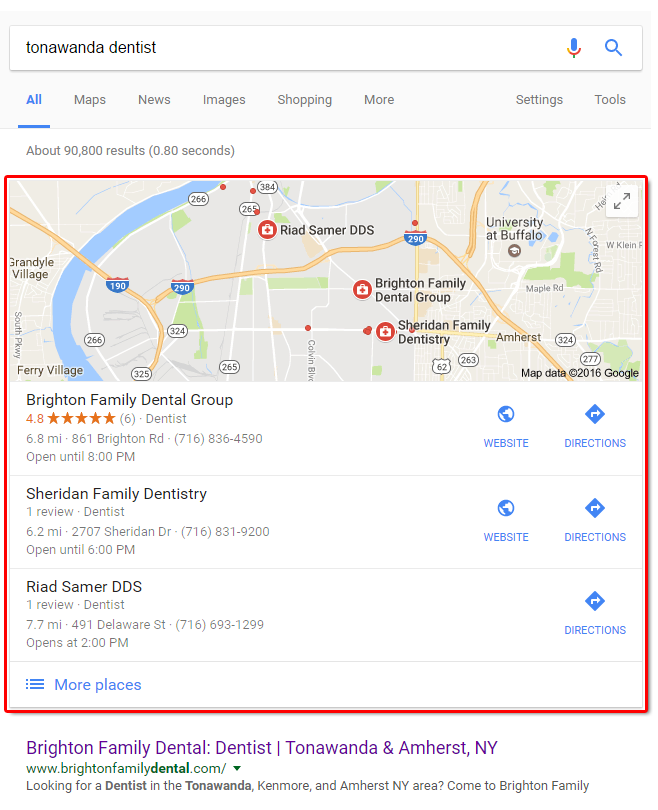 Local SEO Sample Results